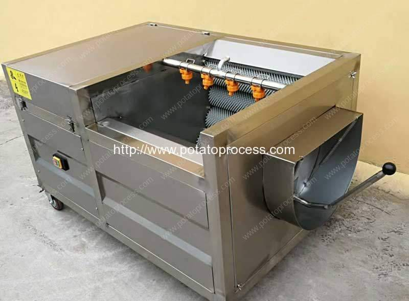 Automatic Brush Type Potato Washing Peeling Machine for Zambia Customer