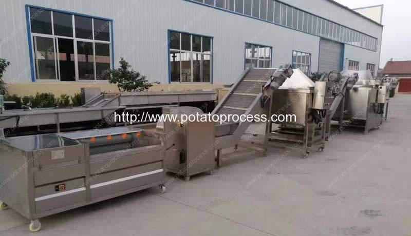 Semi-Automatic-French-Fries-Production-Line-with-Auto-Discharging-Frying-and-Blanching-Machine