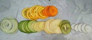 Vertical-Tube-Feeding-Vegetable-Slice-Cutting-Result